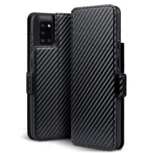 Samsung Galaxy A31 hoesje, MobyDefend slim-fit carbonlook bookcase, Zwart