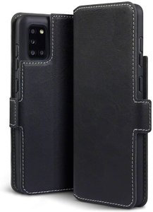 Samsung Galaxy A31 hoesje, MobyDefend slim-fit extra dunne bookcase, Zwart