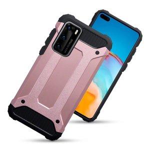 Huawei P40 hoesje, Dubbel gelaagde pantsercase, Rosé goud