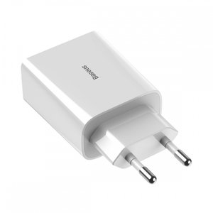 Baseus Mini Wall charger, Oplader met 1 USB-poort, Quick Charge 3.0, Wit