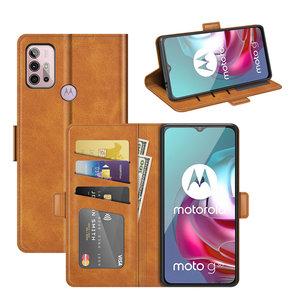 Motorola Moto G30 / G20 / G10 hoesje, MobyDefend Luxe Wallet Book Case (Sluiting Zijkant), Lichtbruin