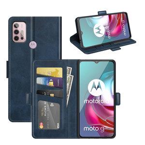 Motorola Moto G30 / G20 / G10 hoesje, MobyDefend Luxe Wallet Book Case (Sluiting Zijkant), Blauw