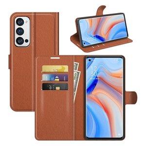 Oppo Find X3 Neo hoesje, MobyDefend Kunstleren Wallet Book Case, Bruin