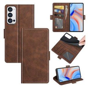 Oppo Find X3 Neo hoesje, MobyDefend Luxe Wallet Book Case (Sluiting Zijkant), Bruin