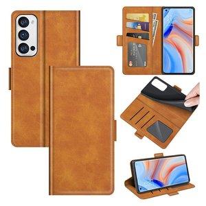 Oppo Find X3 Neo hoesje, MobyDefend Luxe Wallet Book Case (Sluiting Zijkant), Lichtbruin