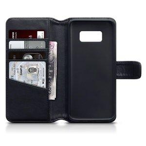 Samsung Galaxy S8 hoesje, echt lederen 3-in-1 bookcase, zwart