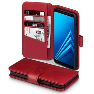 Samsung Galaxy A8 (2018) hoesje, MobyDefend luxe echt leren bookcase, Rood