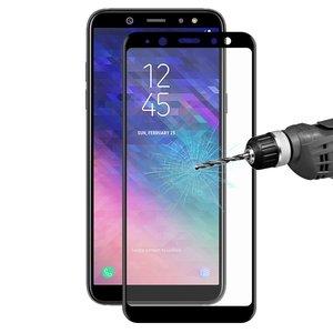 Samsung Galaxy A6 (2018) screenprotector, Full screen tempered glass screenprotector, zwarte randen