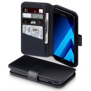 Samsung Galaxy A5 (2017) hoesje, MobyDefend luxe echt leren bookcase, Zwart