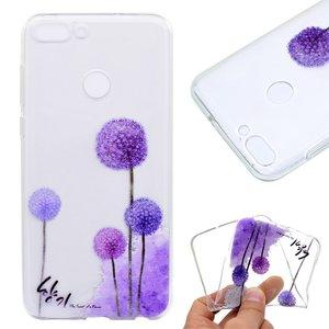 Huawei P Smart hoesje, gel case doorzichtig met print, paarse bloemen