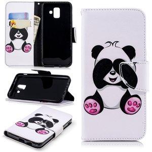 Samsung Galaxy A6 (2018) hoesje, 3-in-1 bookcase met print, zittende panda