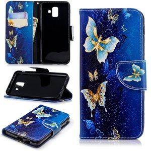Samsung Galaxy A6 (2018) hoesje, 3-in-1 bookcase met print, goud-blauwe vlinders
