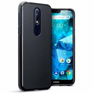 Nokia 7.1 (2018) hoesje, gel case, mat zwart