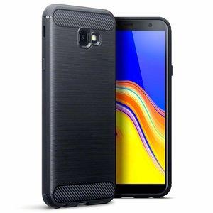 Samsung Galaxy J4 Plus hoesje, gel case carbon look, zwart