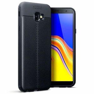 Samsung Galaxy J4 Plus hoesje, gel case leder look, zwart
