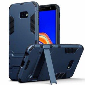 Samsung Galaxy J4 Plus hoesje, tough armor case met standaard, navy blauw
