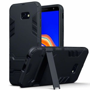 Samsung Galaxy J4 Plus hoesje, tough armor case met standaard, zwart