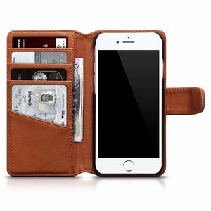 Apple iPhone 7 / iPhone 8 hoesje, echt lederen 3-in-1 bookcase, cognac bruin