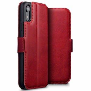 Apple iPhone XR hoesje, echt lederen 3-in-1 bookcase, rood