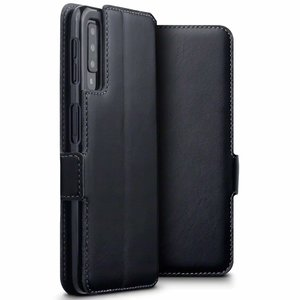 Samsung Galaxy A7 (2018) hoesje, MobyDefend slim-fit echt leren bookcase, Zwart