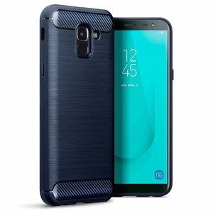 Samsung Galaxy J6 (2018) hoesje, gel case carbon look, navy blauw