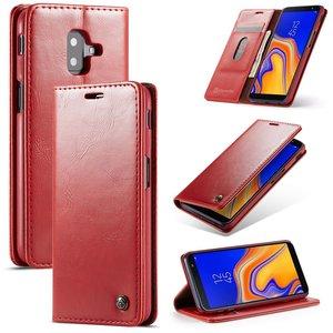 Samsung Galaxy J6 Plus hoesje, CaseMe bookcase, rood