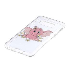 Samsung Galaxy S10E hoesje, gel case doorzichtig met print, roze olifantje