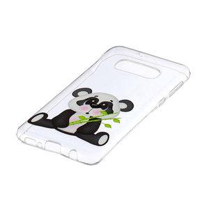 Samsung Galaxy S10E hoesje, gel case doorzichtig met print, panda met bamboe