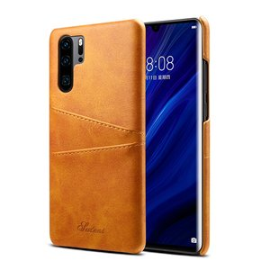 Huawei P30 Pro hoesje, Lederen hardcase met kaarthouder, cognac bruin