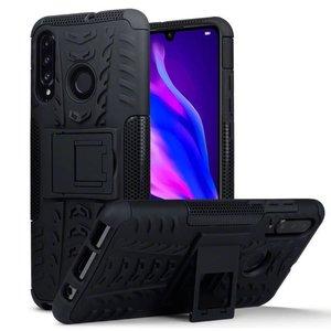 Huawei P30 Lite hoesje, Rugged armor case met standaard, zwart