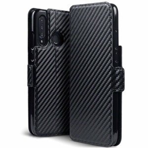 Huawei P30 Lite hoesje, carbon look 3-in-1 bookcase, zwart