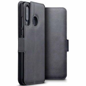 Huawei P30 Lite hoesje, echt leren 3-in-1 bookcase, grijs