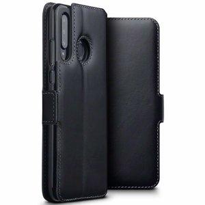 Huawei P30 Lite hoesje, MobyDefend slim-fit echt leren bookcase, Zwart