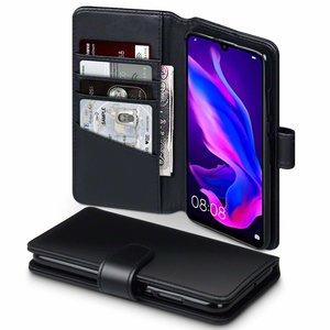 Huawei P30 Lite hoesje, luxe echt leren 3-in-1 bookcase, zwart