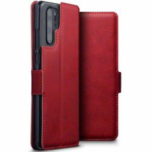 Huawei P30 Pro hoesje, MobyDefend slim-fit echt leren bookcase, Rood