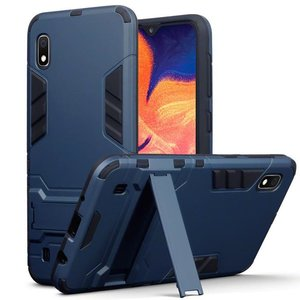 Samsung Galaxy A10 hoesje, dubbel gelaagde pantser case met standaard, navy blauw