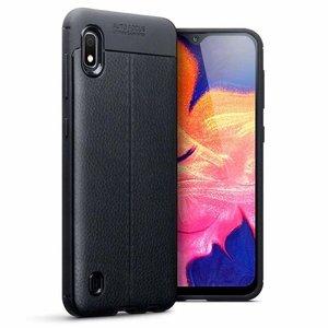 Samsung Galaxy A10 hoesje, gel case lederlook, zwart