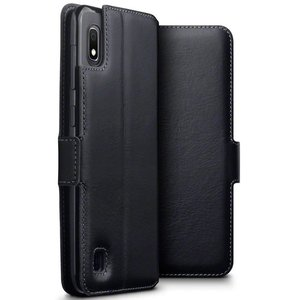 Samsung Galaxy A10 hoesje, echt leren 3-in-1 bookcase, zwart