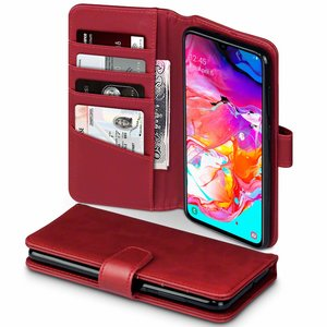 Samsung Galaxy A70 hoesje, MobyDefend luxe echt leren bookcase, Rood