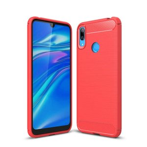 Huawei Y7 (2019) hoesje, gel case brushed carbonlook, rood