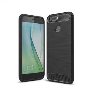 Huawei Y7 (2018) hoesje, gel case brushed carbonlook, zwart