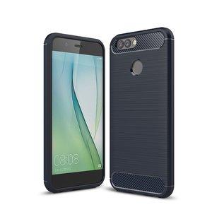 Huawei Y7 (2018) hoesje, gel case brushed carbonlook, navy blauw