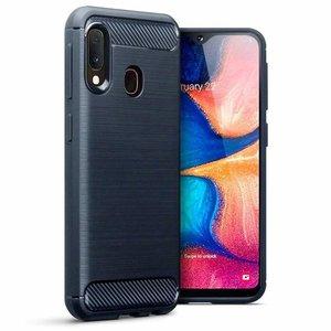 Samsung Galaxy A20e hoesje, gel case brushed carbonlook, navy blauw